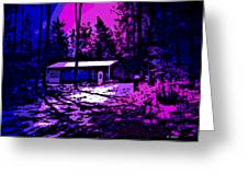 Moonlit Winter Night In The Poconos Greeting Card by George Pedro