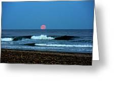 Moonrise Rexham Beach Greeting Card by Malcolm Lorente