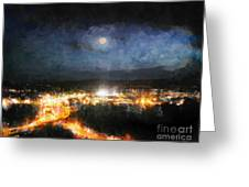 Moonshine Over Prescott Greeting Card by Arne Hansen