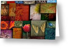 Mosaic Earth Tone Nature Rough Patterns Greeting Card by Angela Waye