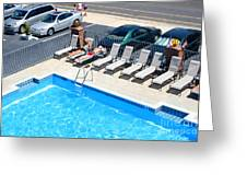 Motel Pool And Surroundings Greeting Card by Susan Stevenson