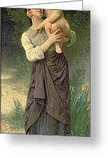 Mother And Child Greeting Card by William Adolphe Bouguereau