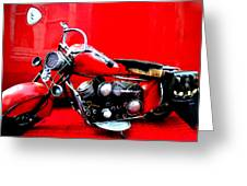 Motor Cycle Getting A Wash And Kick Greeting Card by Colette V Hera  Guggenheim