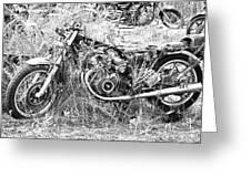 Motorcycle Graveyard Greeting Card by Douglas Barnard
