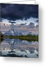 Mount Moran Under Black Cloud Greeting Card by Greg Nyquist
