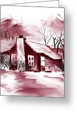 Mountain Cabin Greeting Card by David Lane