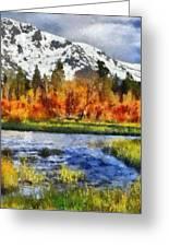 Mountain Greeting Card by Russ Harris
