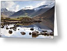 Mountains And Lake At Lake District Greeting Card by John Short