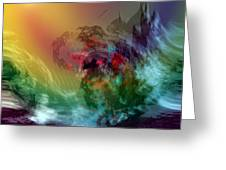 Mountains Crumble To The Sea Greeting Card by Linda Sannuti