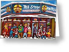 Mr Steer Restaurant Montreal Greeting Card by Carole Spandau