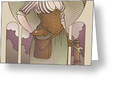 Mucha Inspired Steam Maiden Print Greeting Card by Dani Kaulakis