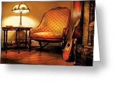 Music - String - The chair and the lute Greeting Card by Mike Savad