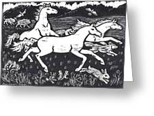 Mustangs Frisking On The High Plains Greeting Card by Dawn Senior-Trask