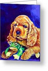 My Froggy - Cocker Spaniel Puppy Greeting Card by Lyn Cook