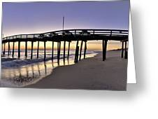 Nags Head Fishing Pier at Sunrise - Outer Banks Scenic Photography Greeting Card by Rob Travis