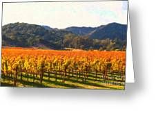 Napa Valley Vineyard In Autumn Colors Greeting Card by Wingsdomain Art and Photography