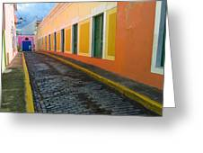 Narrow Cobblestone Street In Old San Juan Puerto Rico Greeting Card by George Oze