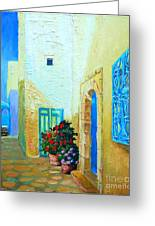 Narrow Street In Hammamet Greeting Card by Ana Maria Edulescu