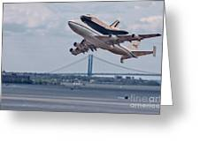 Nasa Enterprise Space Shuttle Greeting Card by Susan Candelario