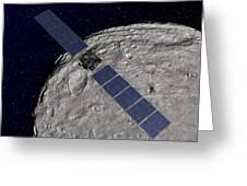 Nasas Dawn Spacecraft Orbiting Greeting Card by Stocktrek Images