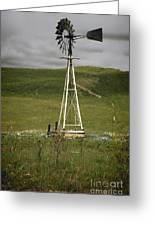 Nebraska Windmill-stormy Day Greeting Card by Michael Flood