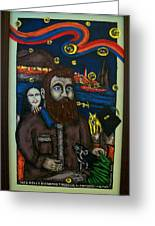 Ned Kelly Befriends The Devil Greeting Card by Victor Maloney