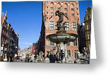 Neptune Fountain In Gdansk Greeting Card by Artur Bogacki
