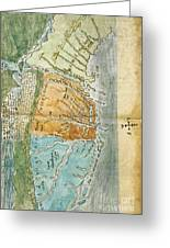 New England To Virginia, 1651 Greeting Card by Photo Researchers