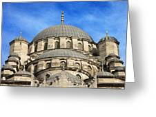 New Mosque Domes In Istanbul Greeting Card by Artur Bogacki