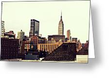 New York City Rooftops And The Empire State Building Greeting Card by Vivienne Gucwa