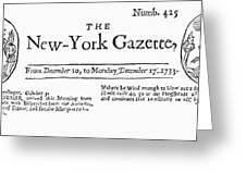 New York Gazette, 1733 Greeting Card by Granger