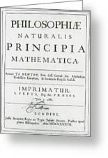 Newtons Principia, Title Page Greeting Card by Science Source