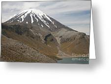 Ngauruhoe Cone And Upper Tama Lake Greeting Card by Richard Roscoe