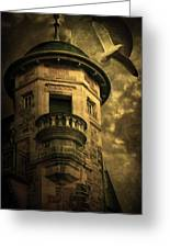 Night Tower Greeting Card by Svetlana Sewell