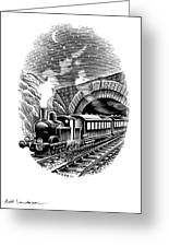 Night Train, Artwork Greeting Card by Bill Sanderson