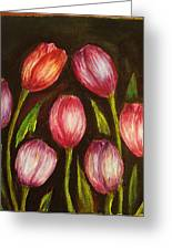 Night Tulips Greeting Card by Jeanne Mytareva