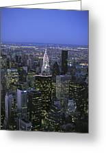 Night View Of The Manhattan Skyline Greeting Card by Todd Gipstein