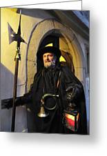 Night Watchman In Old Historic Town Greeting Card by Matthias Hauser