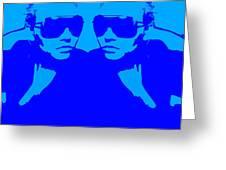 Niki Mirror Blue Greeting Card by Naxart Studio