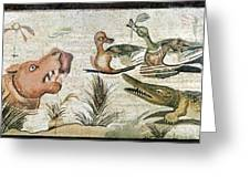 Nile Flora And Fauna, Roman Mosaic Greeting Card by Sheila Terry