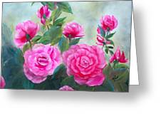 Nine Pink Roses Greeting Card by Joni McPherson