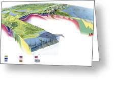 North American Geology And Oil Slick Greeting Card by Gary Hincks
