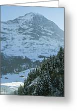 North Face Of The Eiger Towers Greeting Card by Gordon Wiltsie