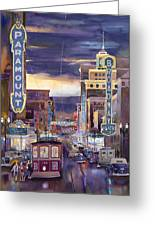North On Broadway 1940 Greeting Card by Mike Hill
