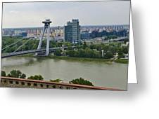 Novy Most Bridge - Bratislava Greeting Card by Jon Berghoff