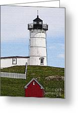 Nubble Lighthouse- Canvas Greeting Card by Luke Moore