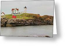 Nubble Lighthouse Greeting Card by Jack Schultz