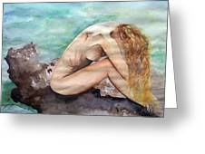 Nude On A Rock II. Greeting Card by Paula Steffensen