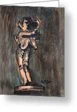 Nude Sculpture Young Boy And Pet Duck Religious Symbolism In Orange And Blue Vatican City Greeting Card by M Zimmerman