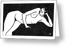 Nude Sketch 72 Greeting Card by Leonid Petrushin